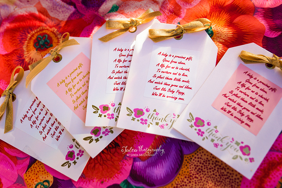 flower seed packets from a baby shower