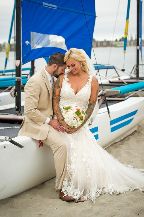 bride-and-groom-at-Catamaran-San-Diego-wedding-photographer