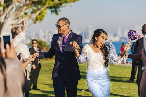bride groom just married tom ham's lighthouse