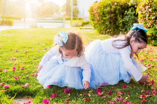 little girls playing grass photographer San Diego