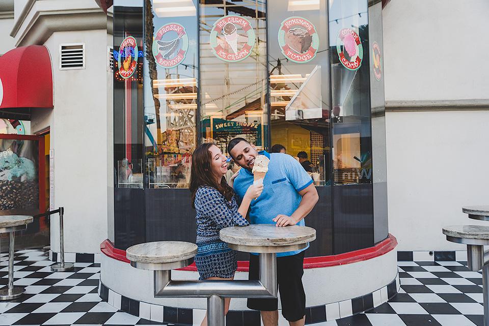 engaged couple eating ice cream Belmont Park San Diego