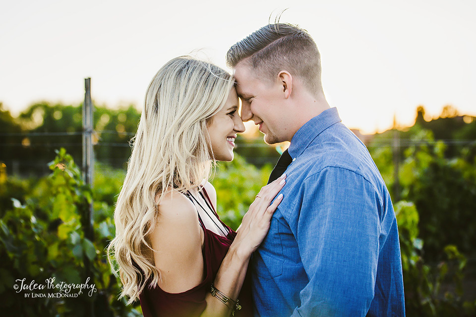 engaged couple at south coast winery vineyard Temecula
