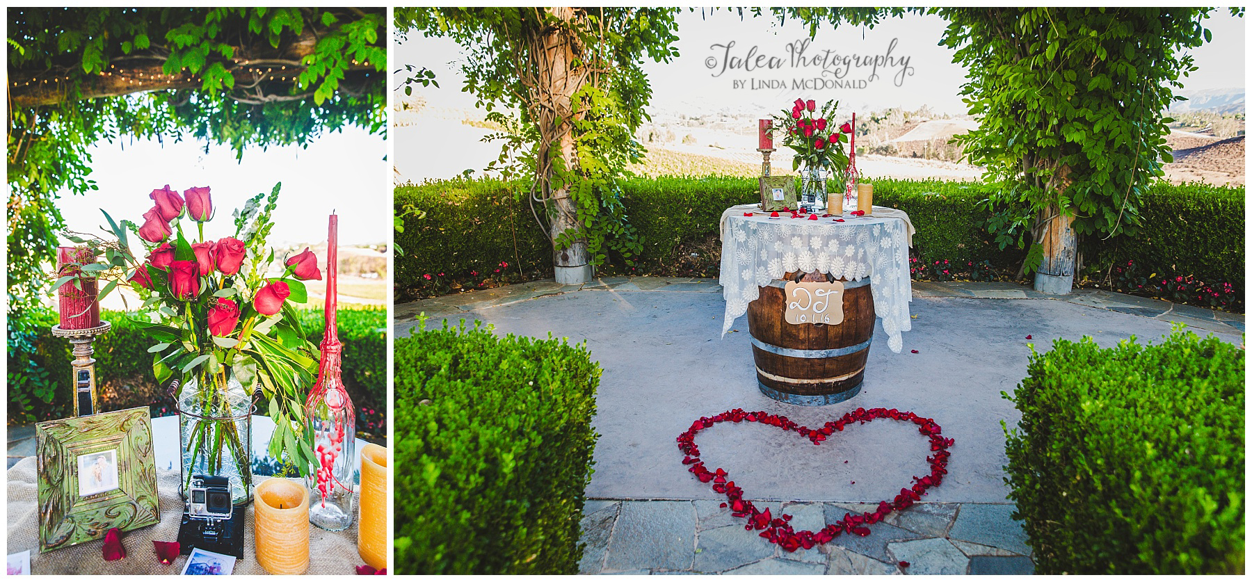 Flower and Candles at South Coast Winery Hotel Temecula