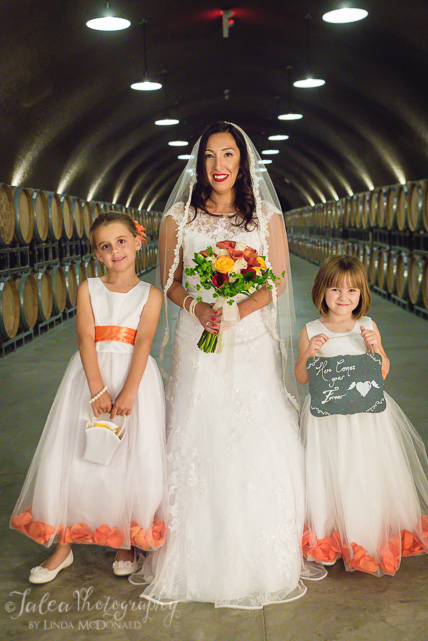 bride and flower girls cave at oak mountain winery temecula ca