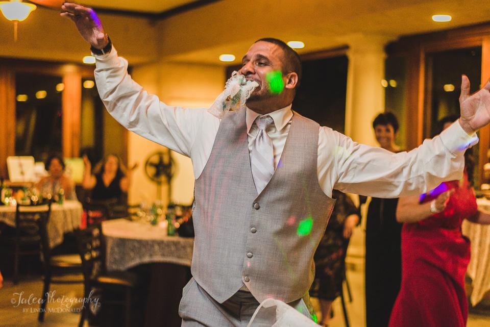 groom garter in mouth wedding reception oak mountain winery temecula ca