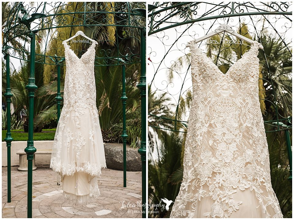 wedding dress hanging from green structure