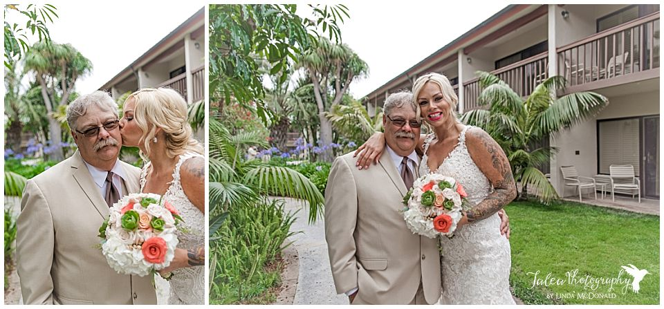 bride-posing-kissing-step-dad-on-cheek-after-first-look