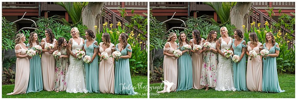 bride-bridesmaid-group-photo-garden-at-catamaran-resort-san-diego