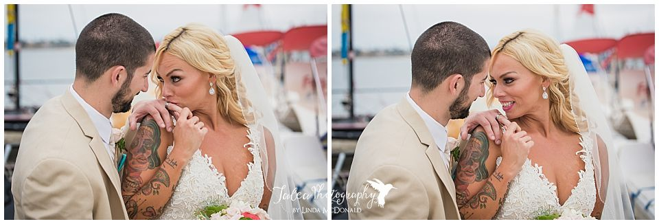 san-diego-catamaran-wedding-bride-groom-looking-at-each-other