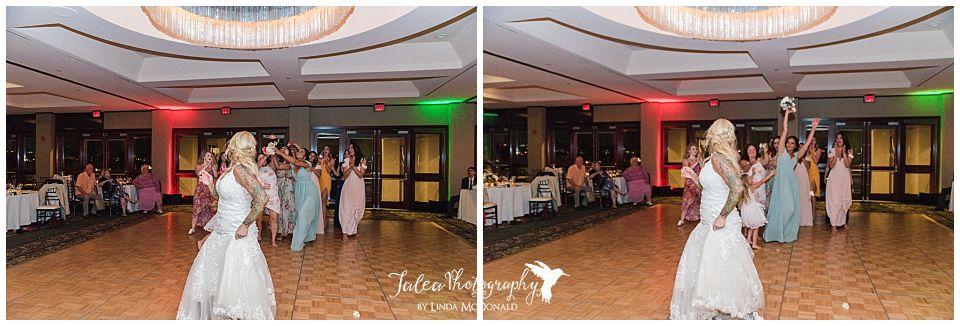 bride-throwing-bouquet-wedding-reception