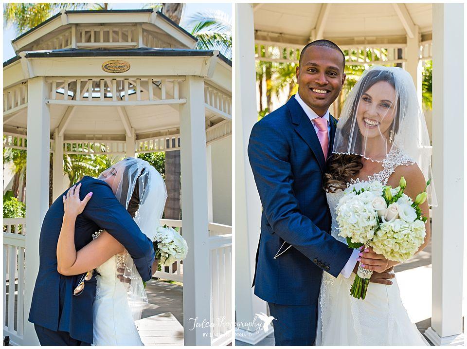 bride-groom-embracing-posing-after first-look-viewing
