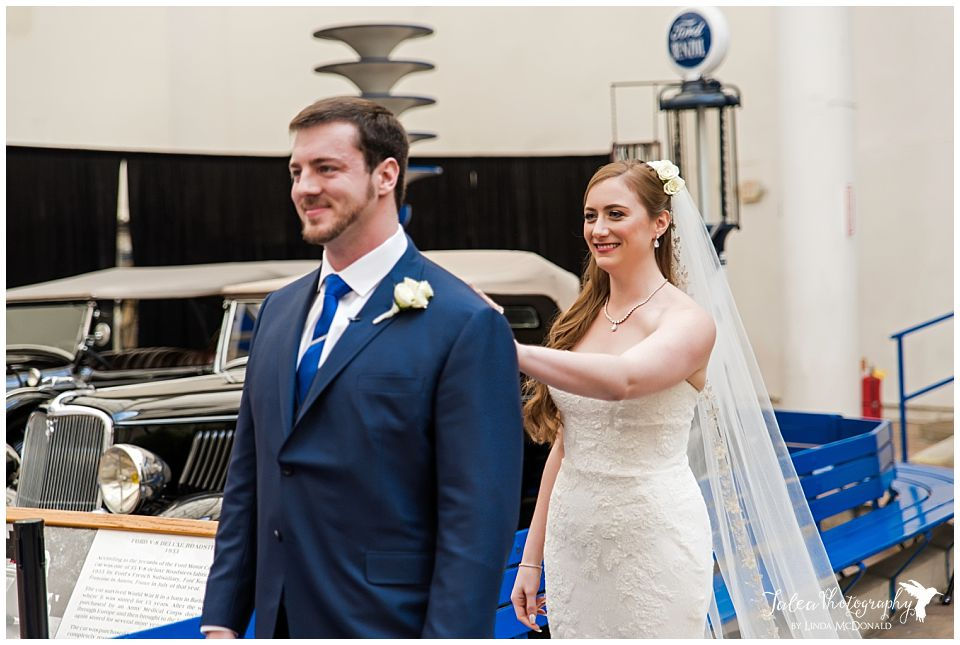 bride groom first look san diego air space museum wedding photos