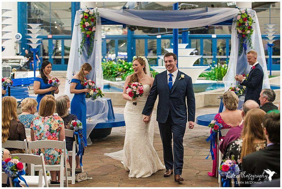 san diego air space museum wedding recessional walk down aisle bride groom