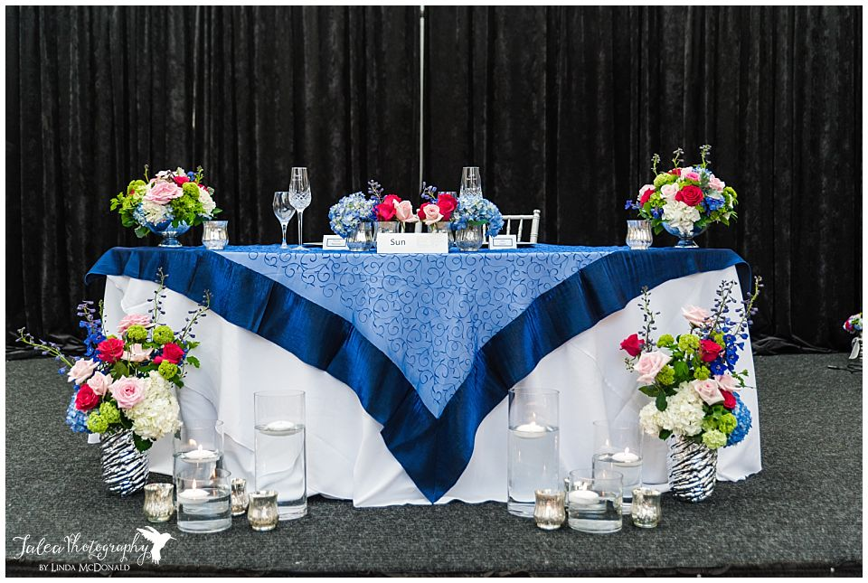 wide front view of sweetheart table