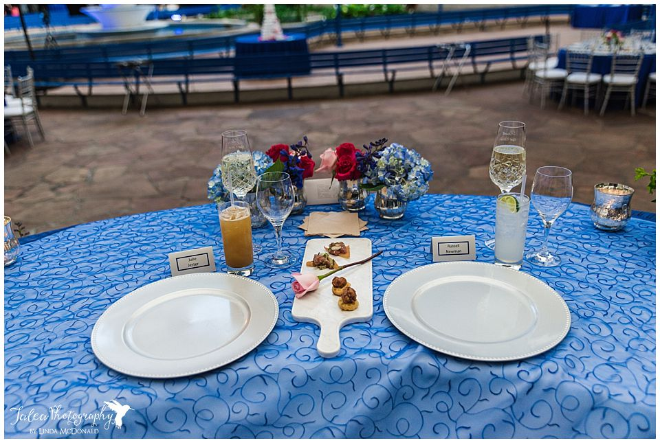 wide view of sweetheart table