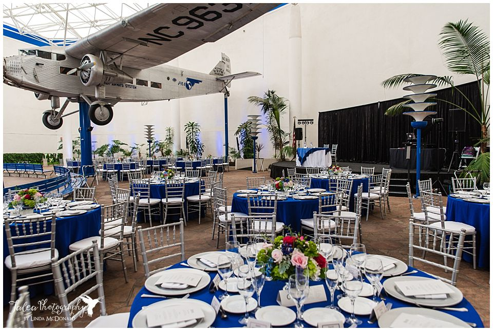 wide view of reception room san diego air space museum wedding photos