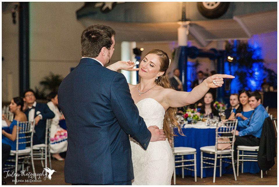 reception dancing bride and groom