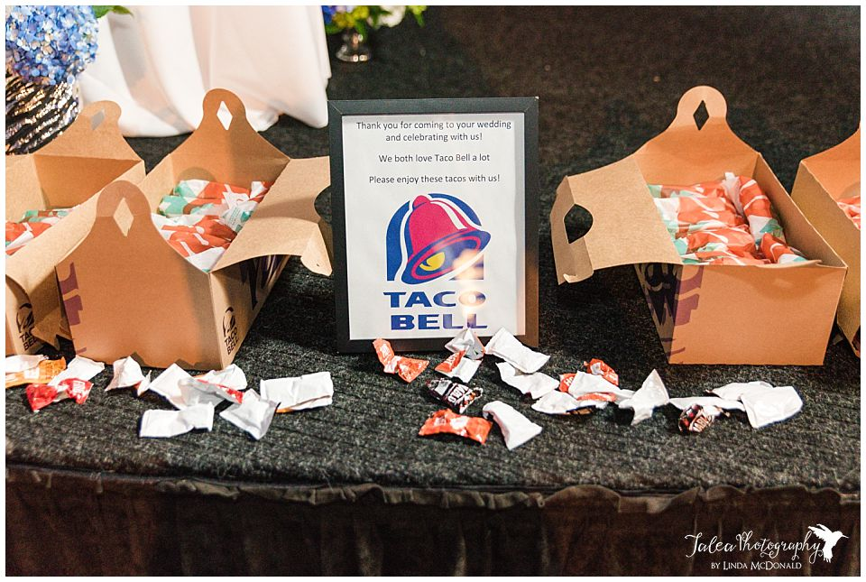 food from taco bell delivered at wedding reception