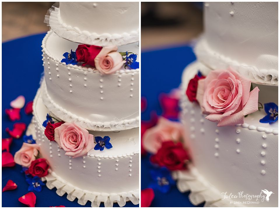 wedding cake close up details pink red roses