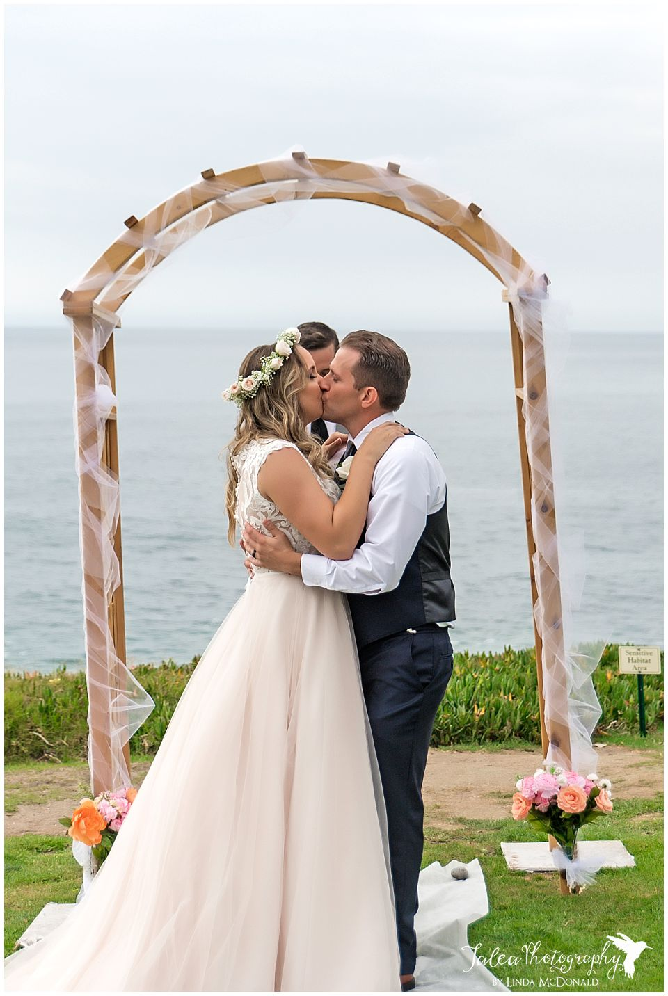 the wedding bowl la jolla ceremony first kiss