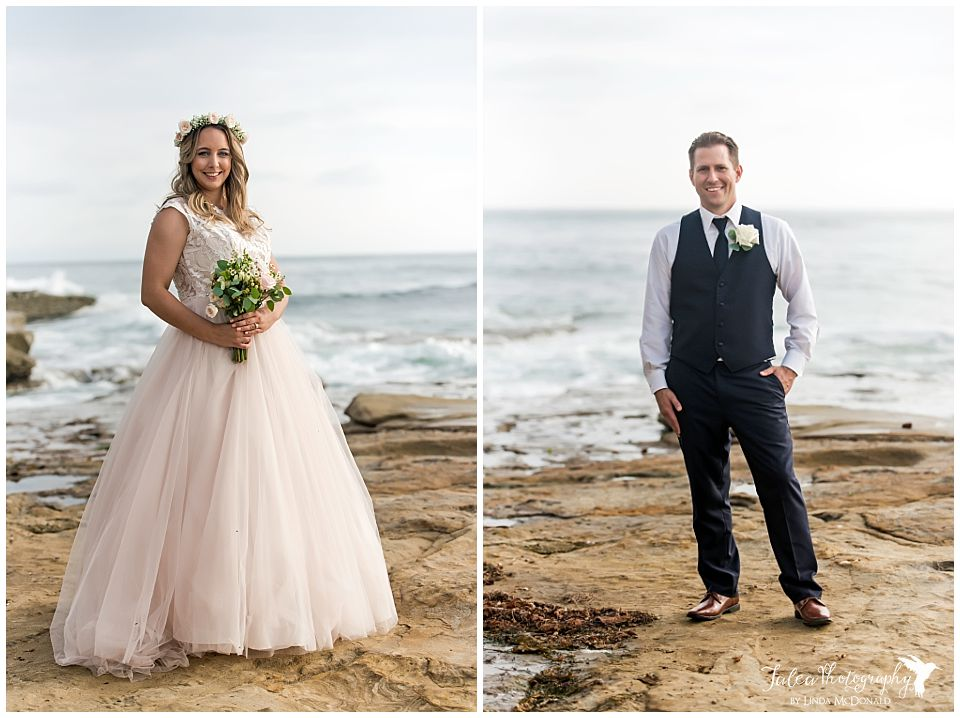 cuvier park la jolla wedding bride groom posingin front of beach