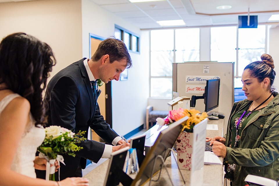 couple getting marriage license at san diego county administration center