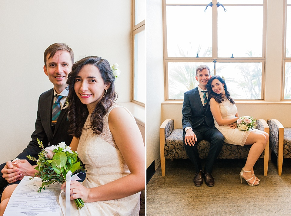 couple posing for wedding photo at san diego county administration center