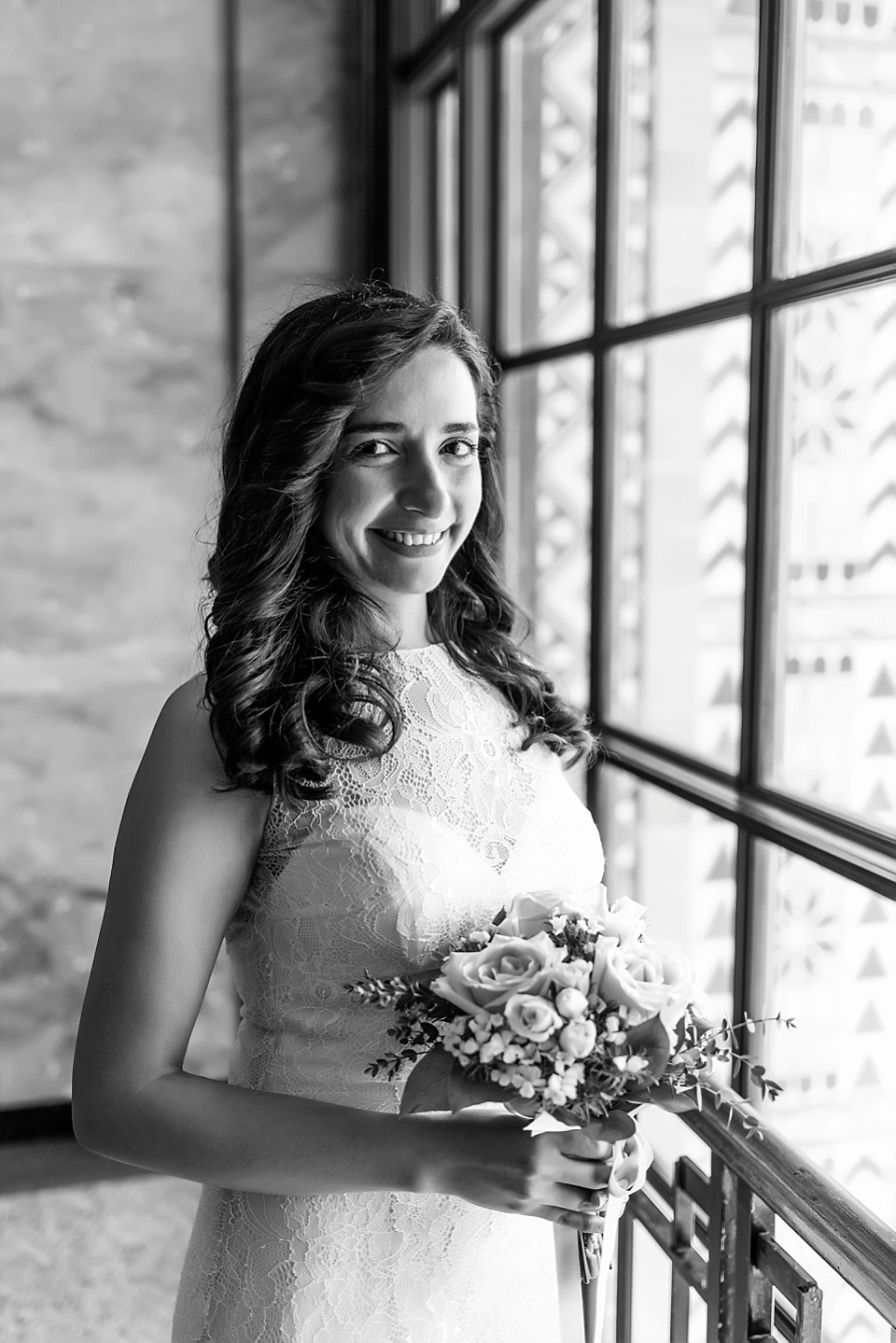 black and white wedding portrait at san diego county administration center