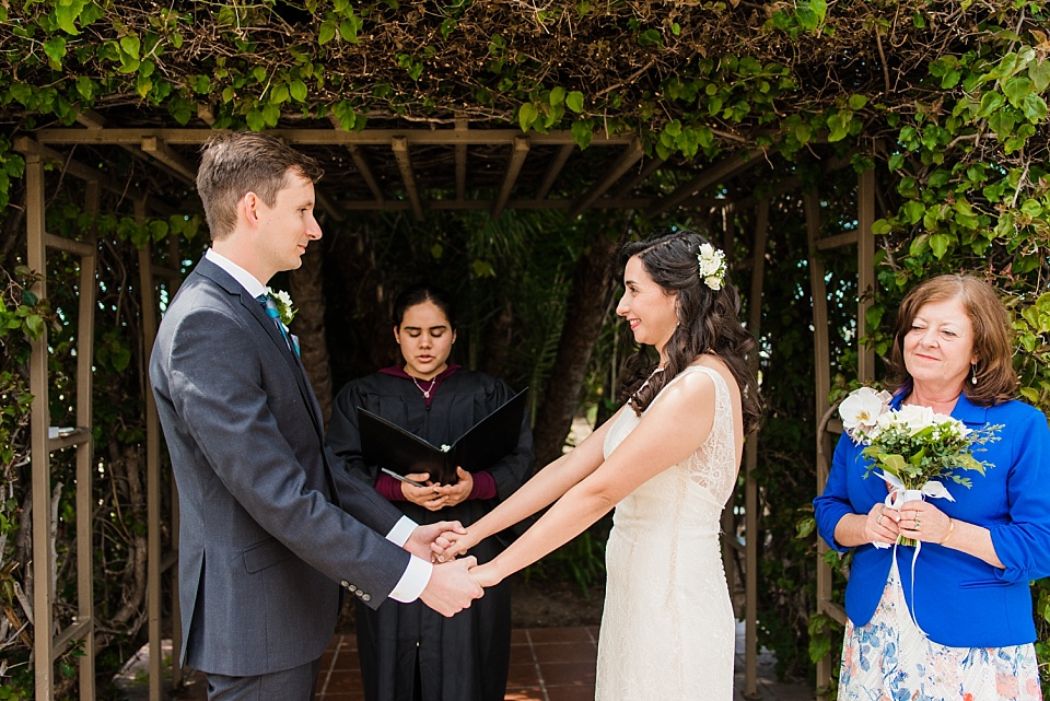 bride and groom holding hands during civil service marriage ceremony san diego county