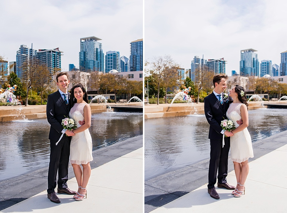 wedding couple posing at san diego waterfront courthouse photographer