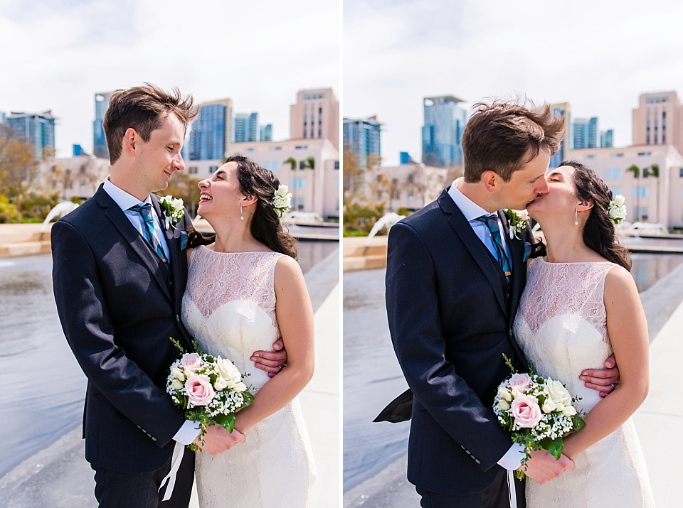 bride and groom portraits san diego courthouse civil marriage ceremony