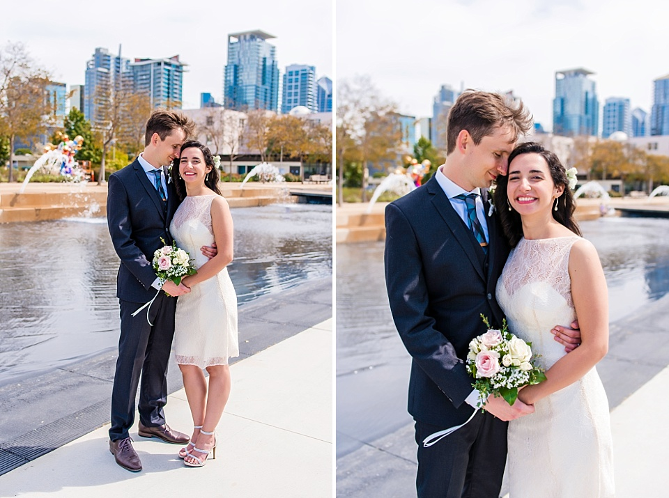 newlywed portrait san diego courthouse wedding downtown waterfront