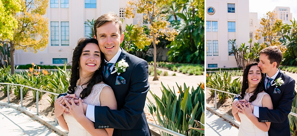 couples portrait san diego county courthouse wedding