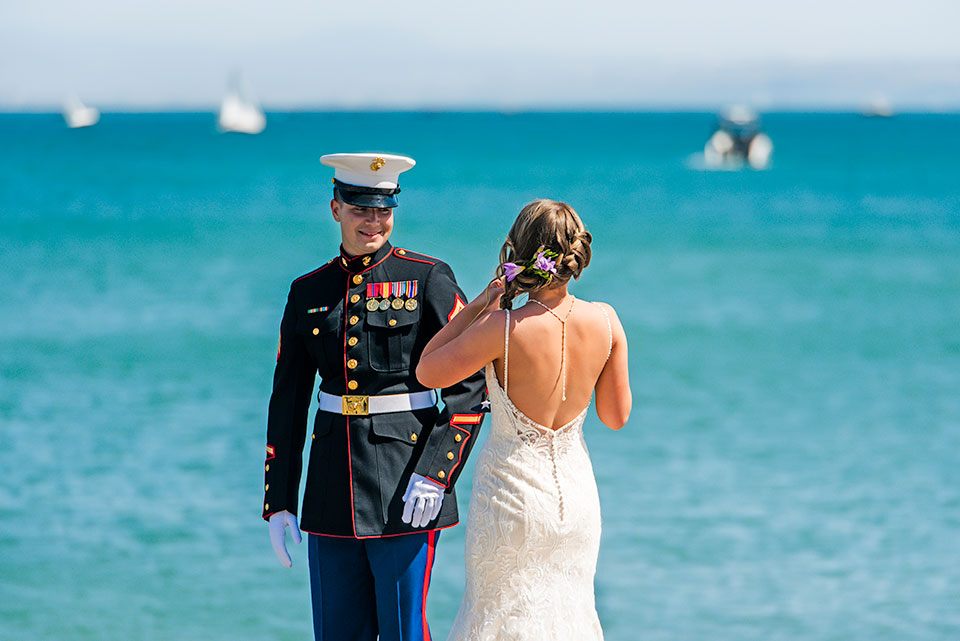marine groom seeing bride for the first time ocean view point loma wedding