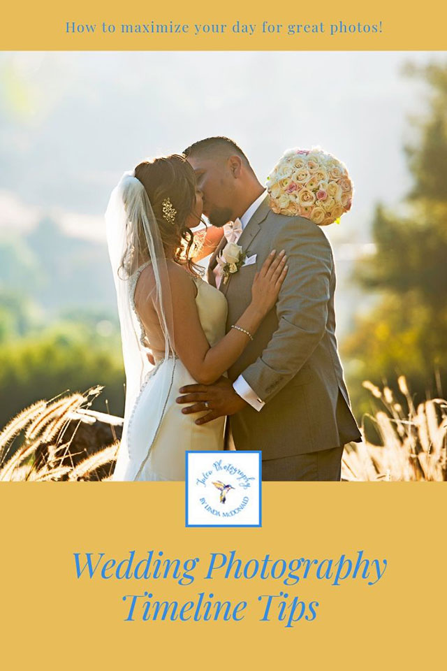 a pinterest image of a bride and groom kissing for a wedding photography timeline blog