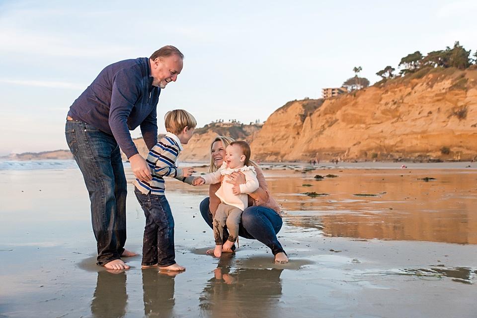 san diego family playing at la jolla beach