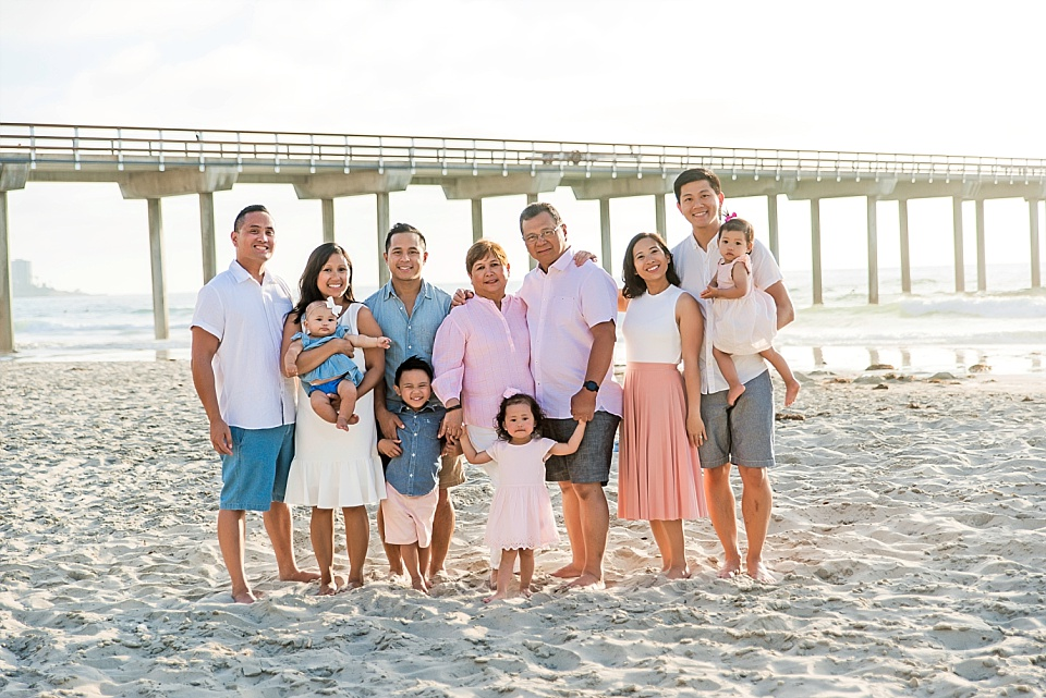 extended family posing for group photo at Scripps Pier La Jolla