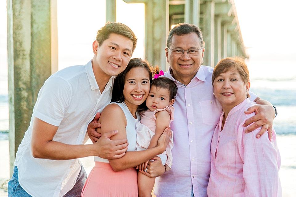 large family group photo underneath Scripps Pier La Jolla