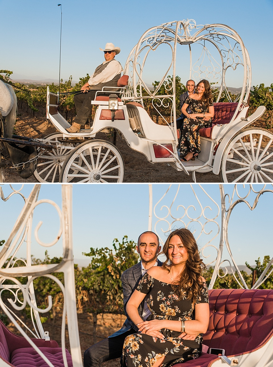 couple posing on carriage after marriage proposal with Temecula Carriage Co