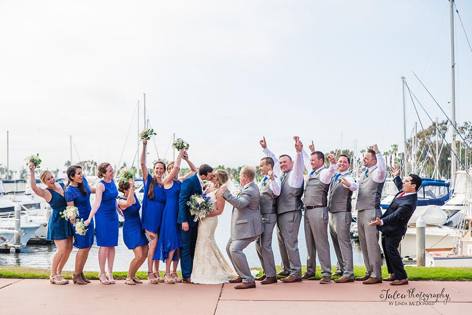 bridal party cheering at Marina Village Conference Center wedding