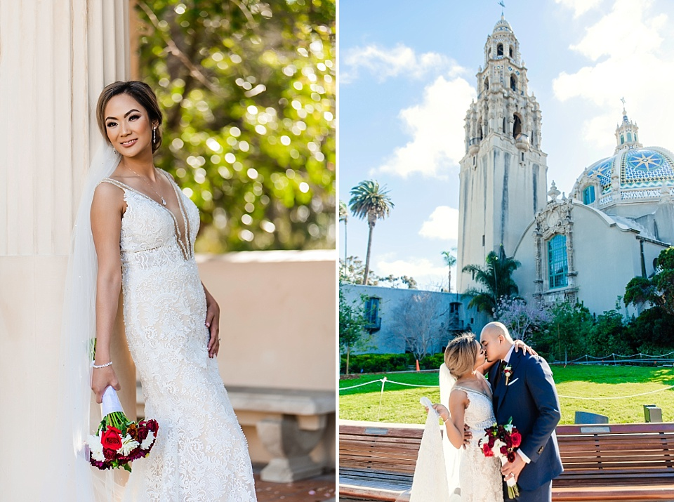 Bride and Groom Wedding Portraits at Balboa Park San Diego
