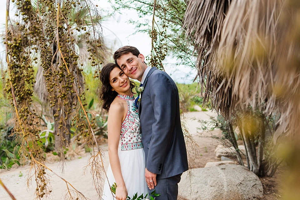 newlyweds portraits at old cactus garden san diego