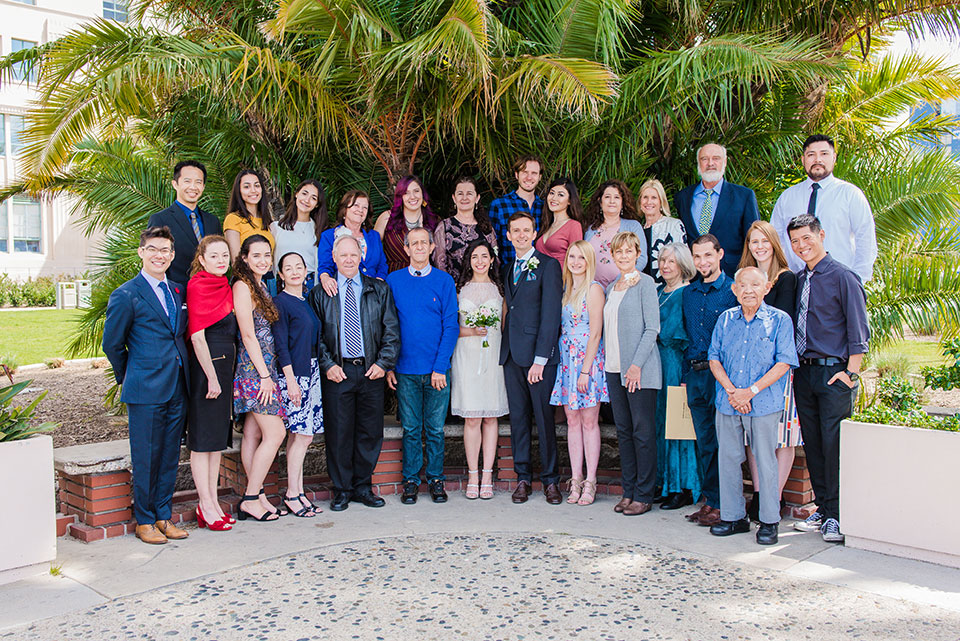 wedding guests group portrait san diego county administration center