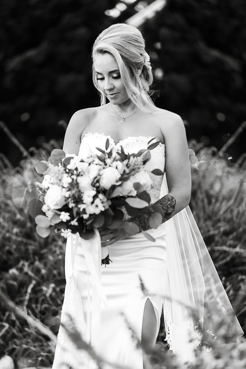 black and white portrait of bride la jolla wedding venues