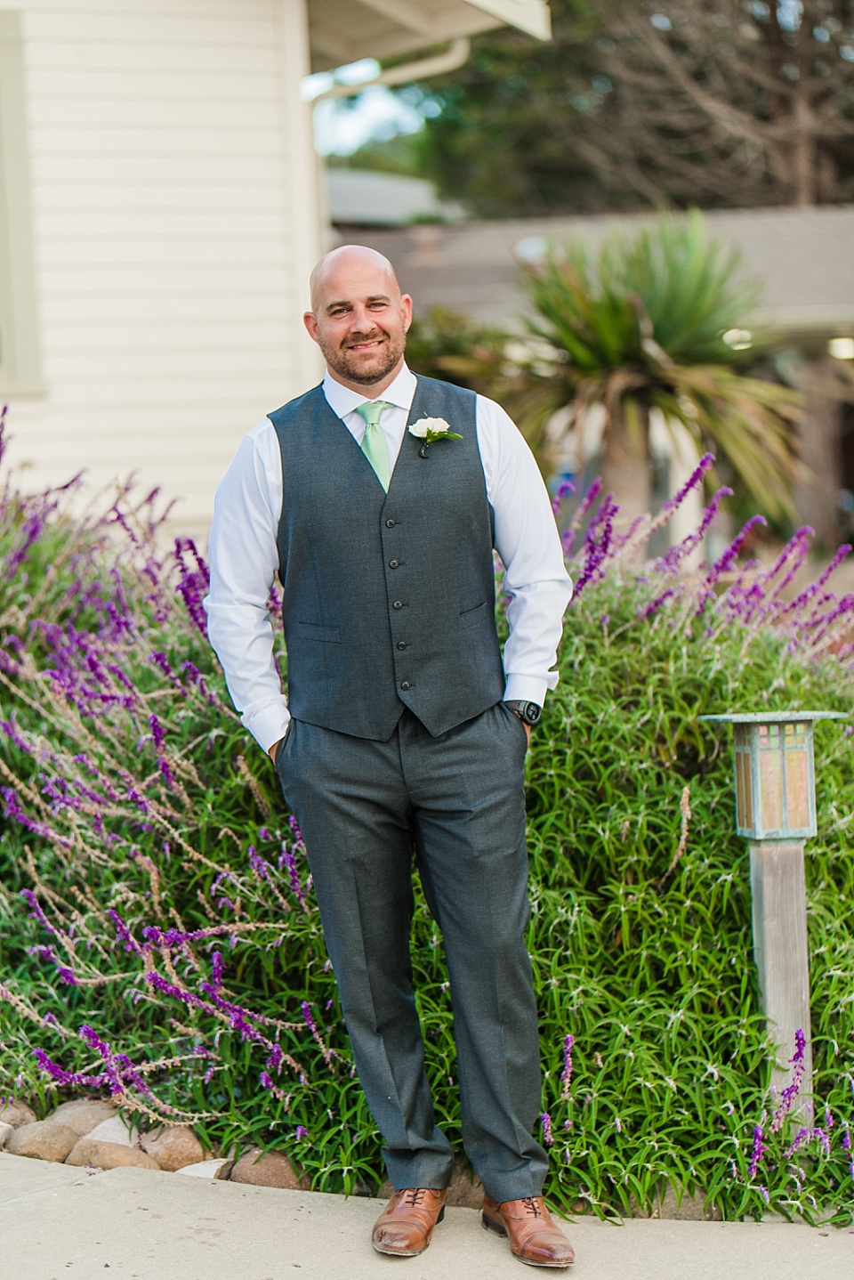 full length groom portrait la jolla beach wedding venues