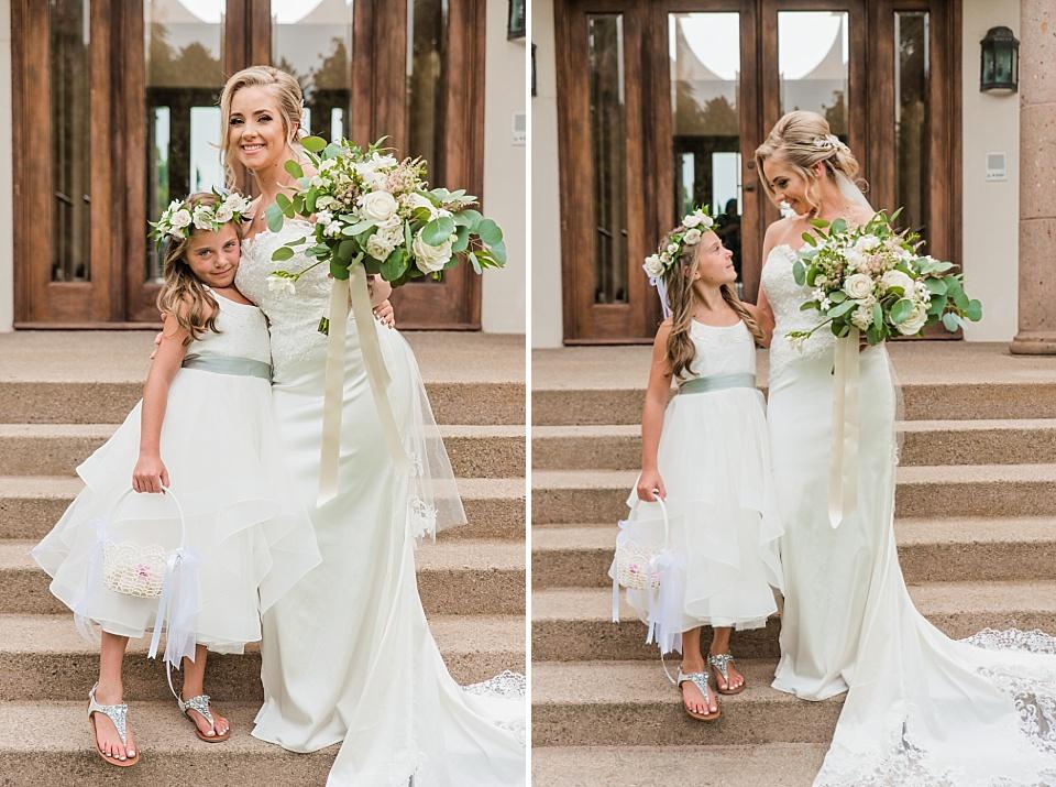la jolla wedding venues bride and flower girl portrait