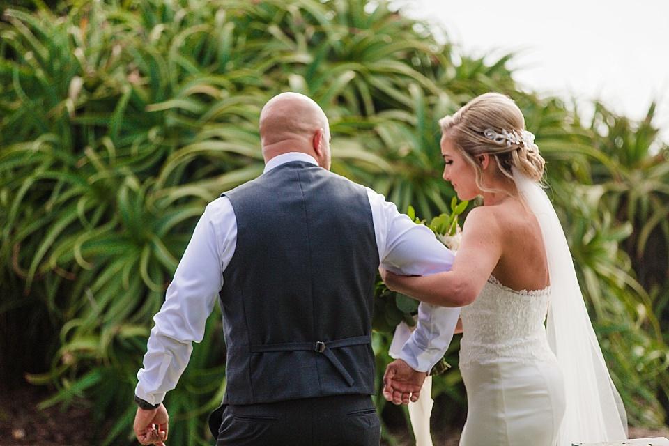 groom escorting bride la jolla wedding