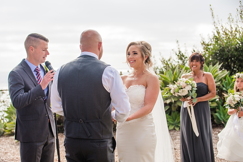bride smiling at groom martin johnson house wedding ceremony