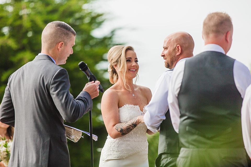 bride and groom laughing at martin johnson house wedding