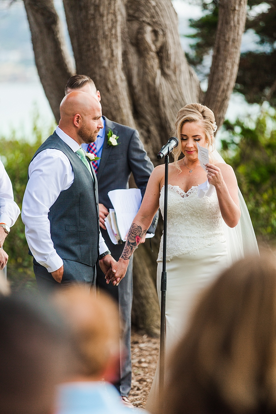 bride crying while reading vows la jolla wedding